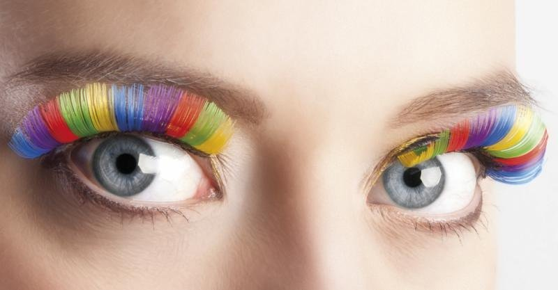 Eyelashes : Rainbow Self-Adhesive Accessory for 80s 40s 20s 30s Fancy Dress