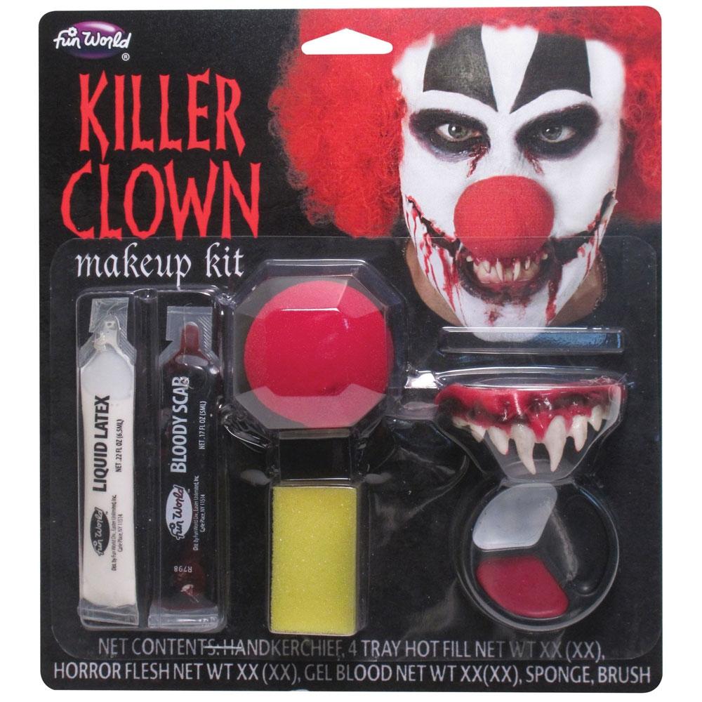 Killer Clown Makeup Kit Costume for Halloween Circus Fancy Dress Outfit