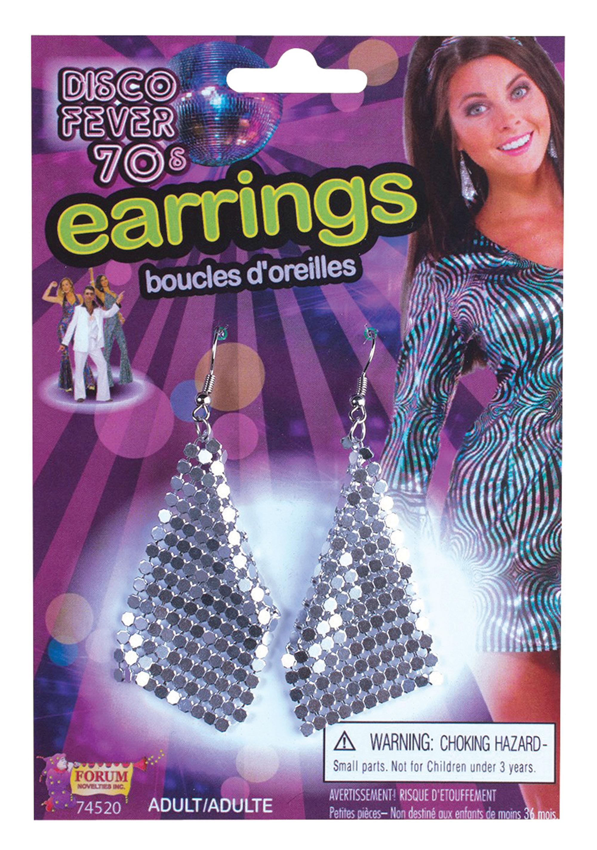 Diamond Earrings Jewellery Accessory for 80s Bling Fancy Dress