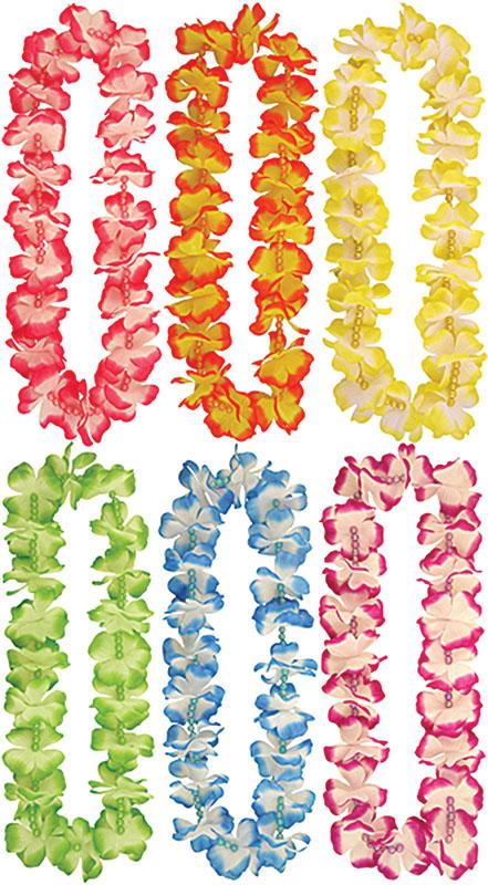 Hawaiian Leis + Beads (6 Asstd Colours) Leis for Tropical Beach Fancy Dress Leis