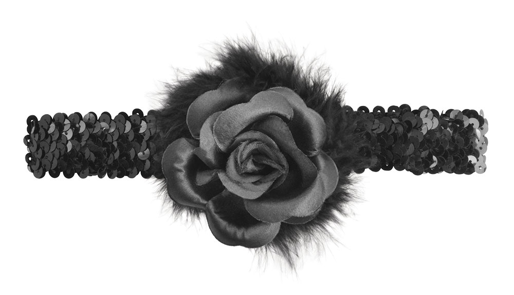 Flapper Headband + Rose Boa Black Boas Accessory for 20s 30s Moll Fancy Dress Bo