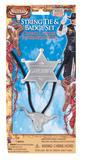 Cowboy String Tie + Badge Tie Accessory for Wild West Fancy Dress Tie