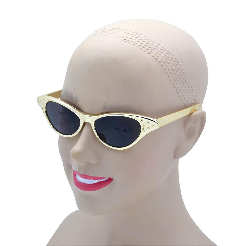 Sunglasses 50's Gold Metallic Glasses Accessory for 50s 60s Fancy Dress Glasses