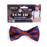 Bow Tie Sriped Red/Blue Tie Accessory for Clown Circus Fancy Dress Tie