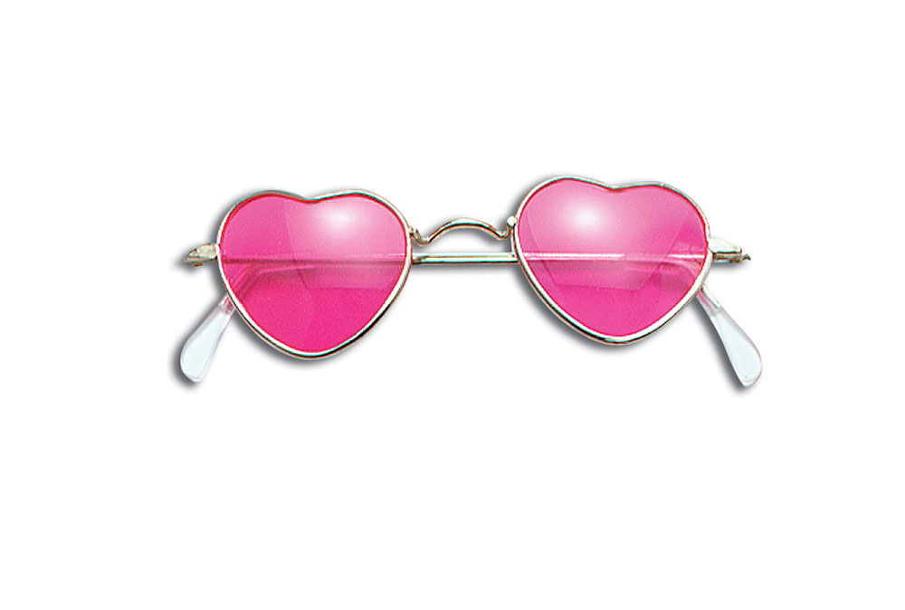 Glasses Heart Shaped Pink Glasses Accessory for 80s 90s Pop Star Fancy Dress Gla