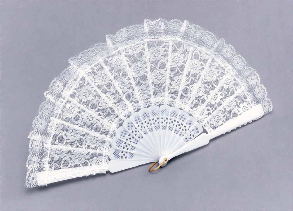 Fan White Lace Fan Accessory for Parasol Victorian Fancy Dress Fan