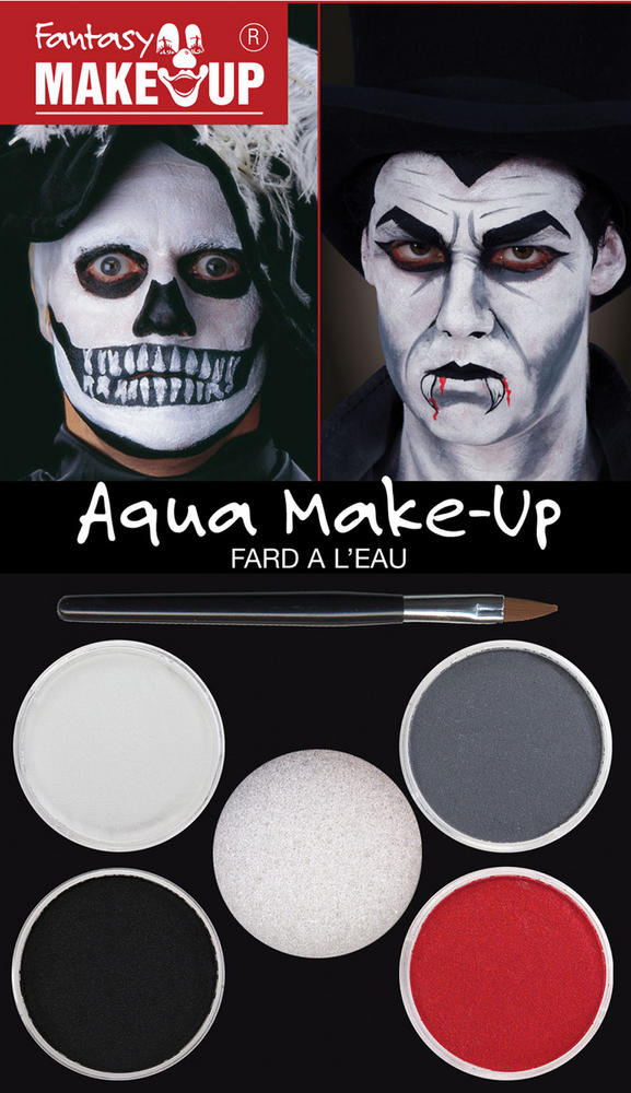 Dracula/Skull Aqua Make Up Makeup Accessory for Vampire Halloween Fancy Dress Ma