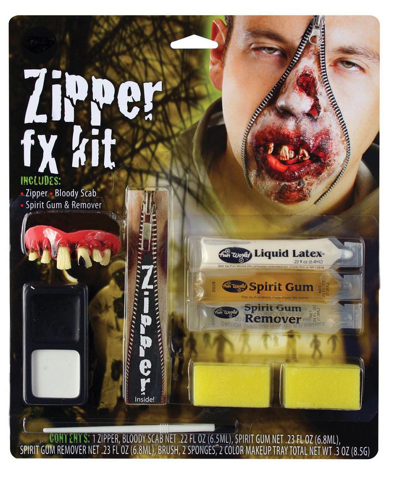 Zipper FX Kit Zombie Makeup Accessory for Halloween Fancy Dress Makeup