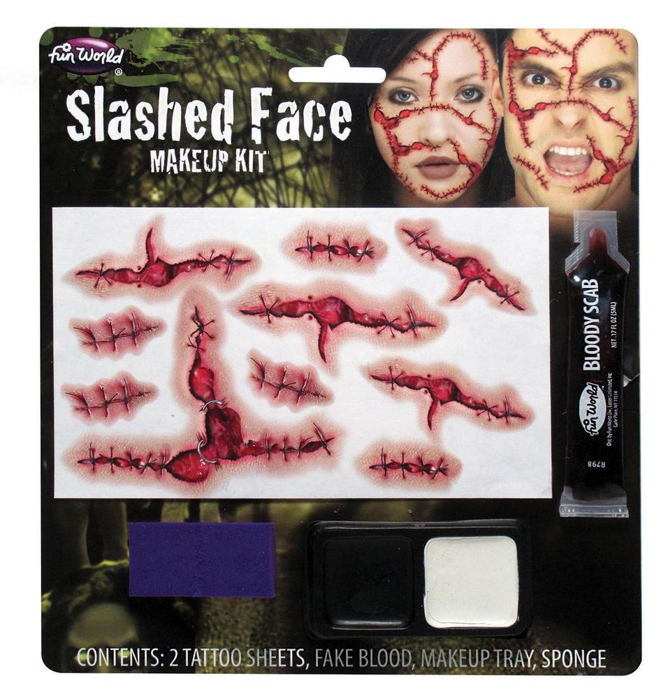 Slashed Face Make Up Kit Makeup Accessory for Halloween Fancy Dress Makeup