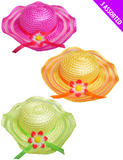 Summer Easter Bonnets Hat 3 Colours with Flower for Girls Fancy Dress Up Outfit
