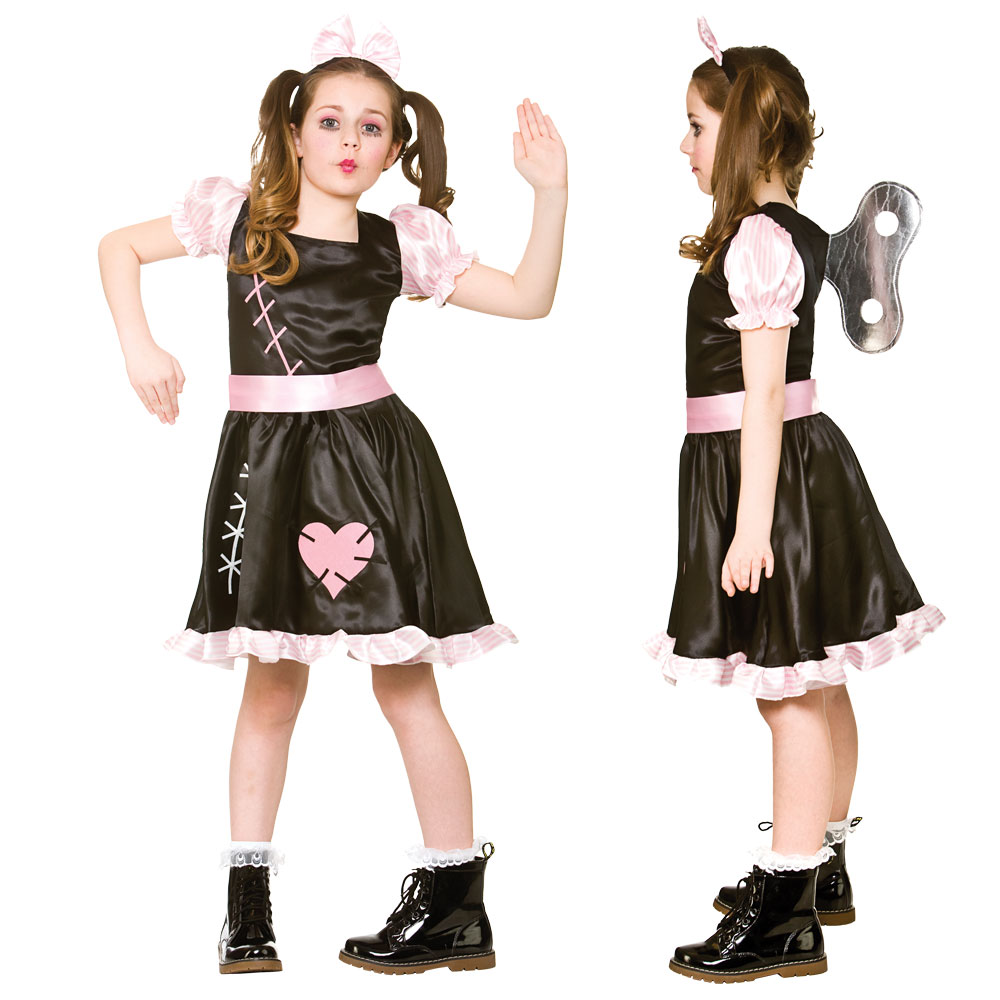 Childrens Girls Halloween Wind Up Doll Costume for Trick Or Treat Fancy Dress