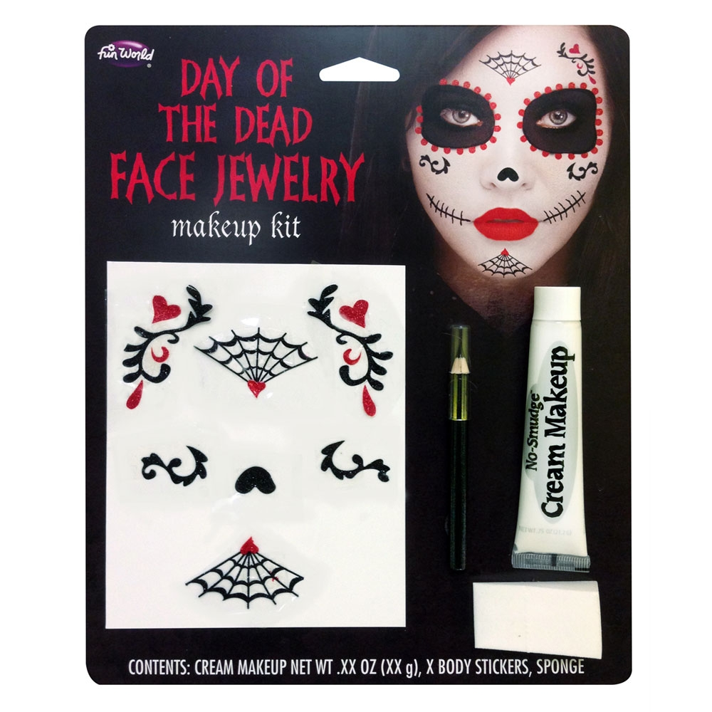 Day of the Dead Face Jewelery Kit Makeup for Halloween Zombie Cosmetics