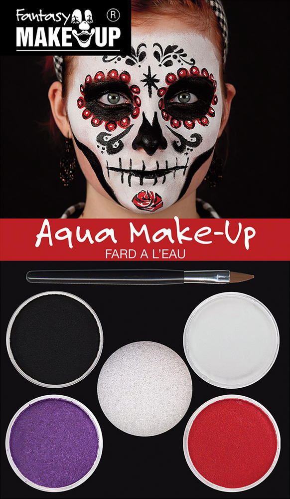 Day of the Dead Aqua Makeup Kit Face Body Paint for Halloween Makeup