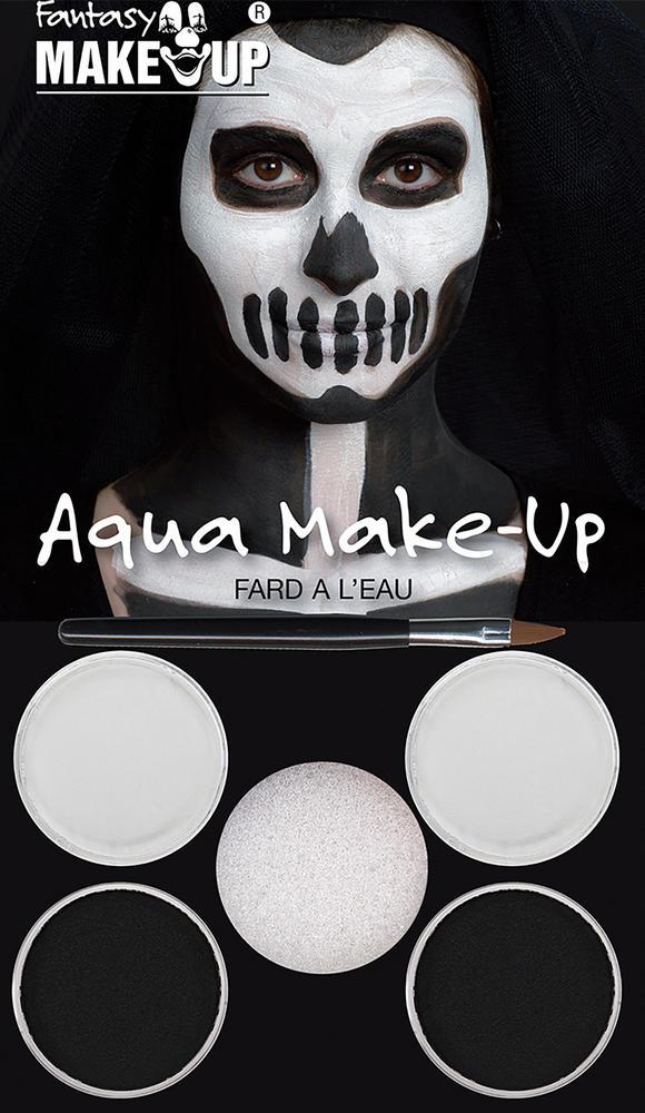 Black/White Aqua Makeup Kit Face Body Paint for Halloween Makeup