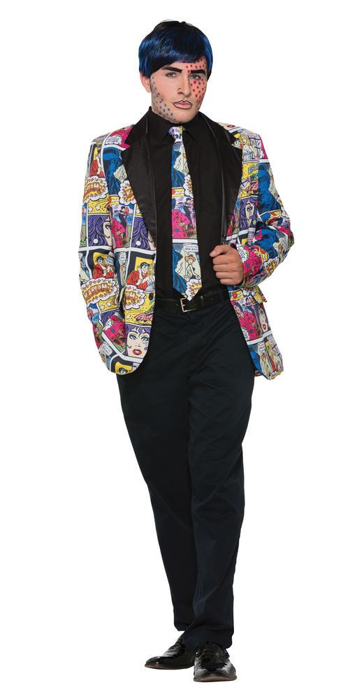 Pop Art Tie Accessory for Superhero Cartoon Cosplay Fancy Dress