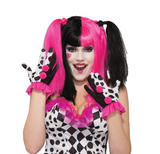 Harlequin Clown Ruffle Gloves Accessory for Circus Carnival Cosplay Fancy Dress