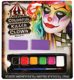 Colourful Killer Clown Makeup Kit Face Body Paint for Halloween Circus Carnival