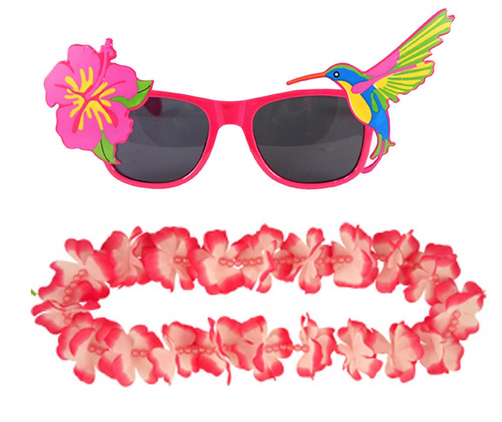Adult Pink Hawaiian Lei & Glasses Fancy Dress Set for Mens & Ladies Summer Costu