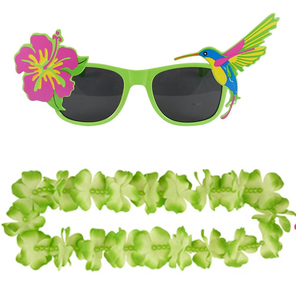 Adult Green Hawaiian Lei & Glasses Fancy Dress Set for Mens & Ladies Summer Cost