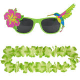 Adult Green Hawaiian Lei & Glasses Fancy Dress Set for Mens & Ladies Summer Cost