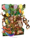 Girls Boys Birthday Card Childrens Monkeys Animals 3D Swing Pop Up Greeting Card