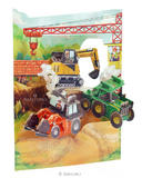 Deluxe Boys Birthday Card Son Tractors & Diggers Builder 3D Swing Pop Up Greetin
