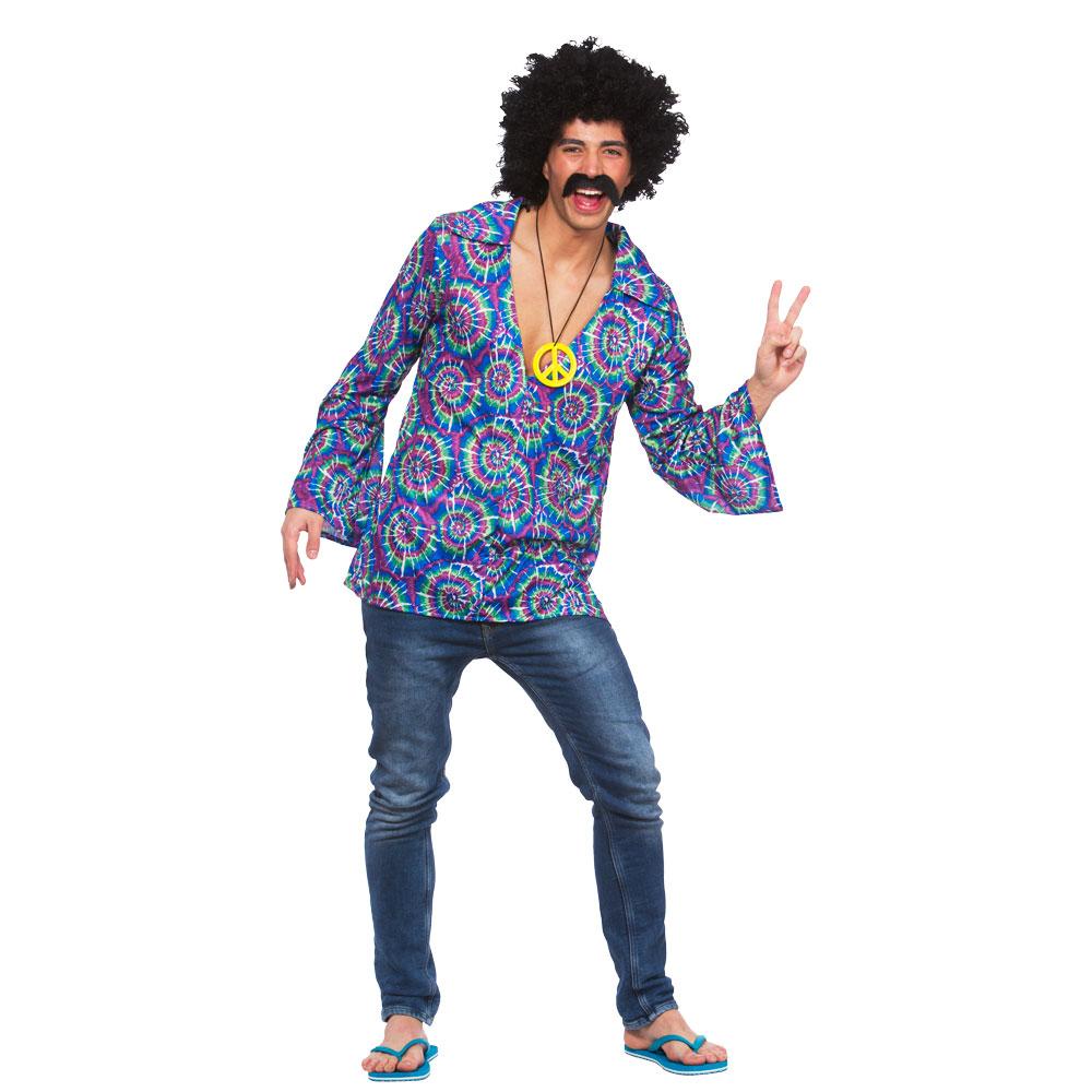 mens funky hippie shirt fancy dress costume for hippy 60s