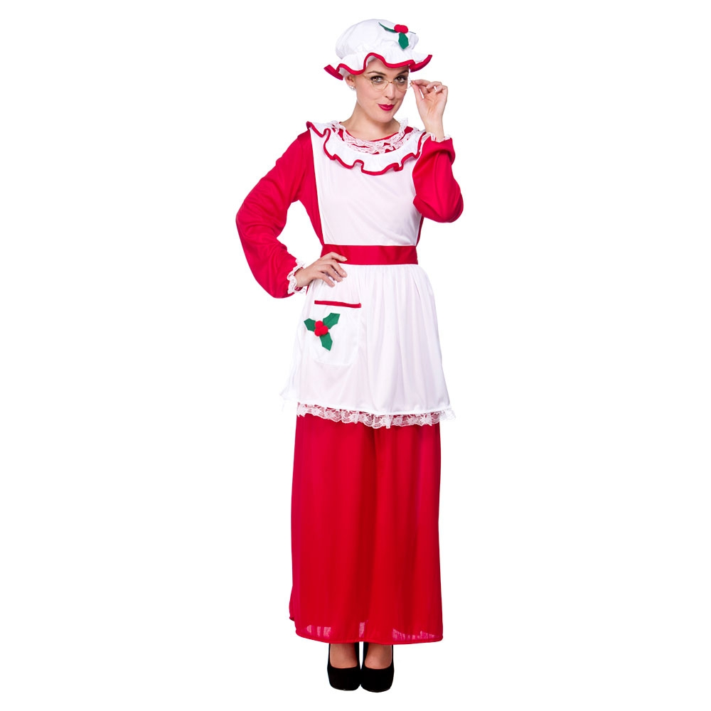 Ladies mrs santa claus fancy dress costume for father