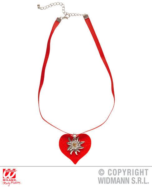 RED HEART RIBBON NECKLACE WITH STRASS EDELWEISS Decoration for Valentines Love Romance Party