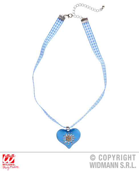 AZURE-WHITE CHECKERED RIBBON NECKLACE WITH STRASS EDELWEISS Decoration for Bavarian Austrian German Party