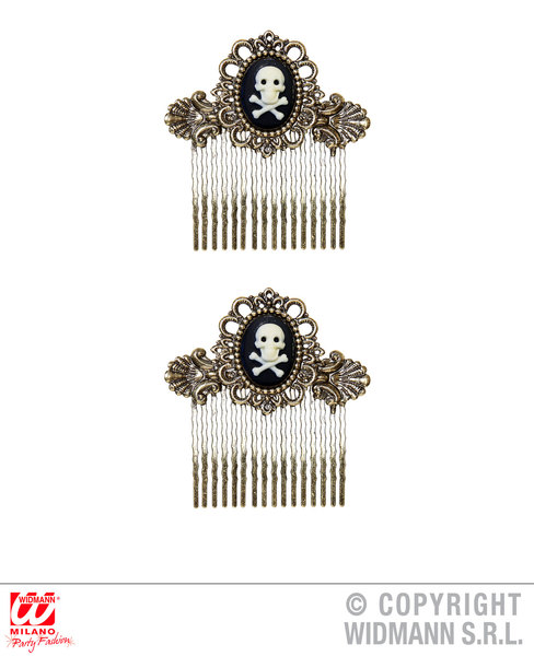 Pair of Antiquated Gold Skull & Cross Bones Hair Combs for Pirate Fancy Dress