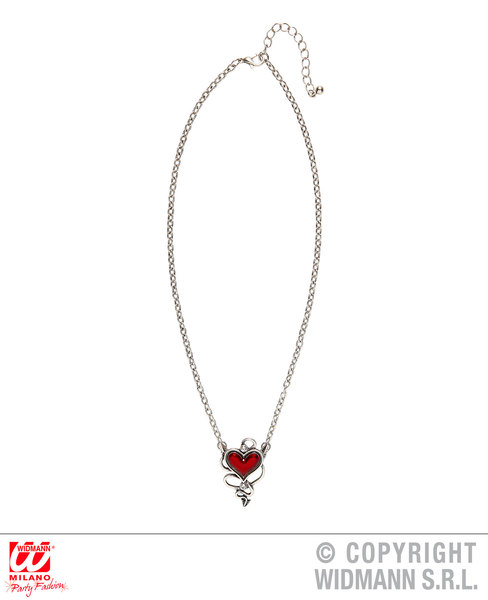 DEVILISH RED HEART GEM NECKLACE for Valentines Love Romance Accessory