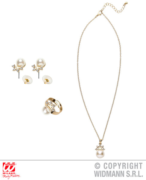 PRINCESS GOLD STRASS CROWN PEARL NECKLACE, EARRINGS & RING Accessory for Royal Fairytale Beautiful hero Fancy Dress