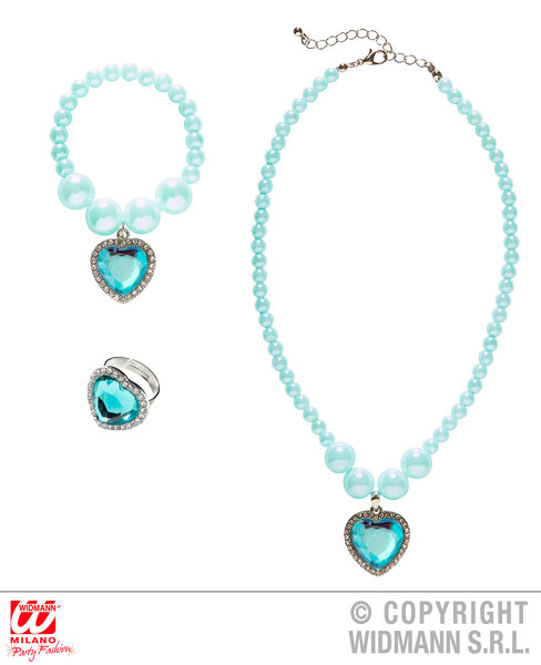 AZURE BEADED STRASS GEM HEART NECKLACE, BRACELET & RING for Valentines Love Romance Accessory
