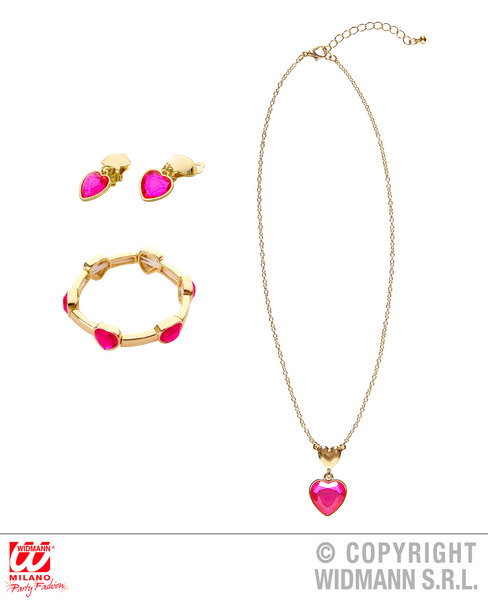 GOLD PINK GEM HEART NECKLACE, EARRINGS & BRACELET for Valentines Love Romance Accessory