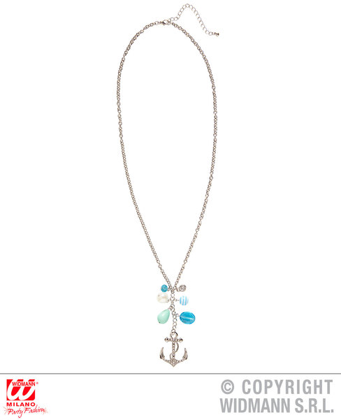SAILOR STRASS ANCHOR NECKLACE WITH CHARMS for Navy Crew Military Seaman Accessory