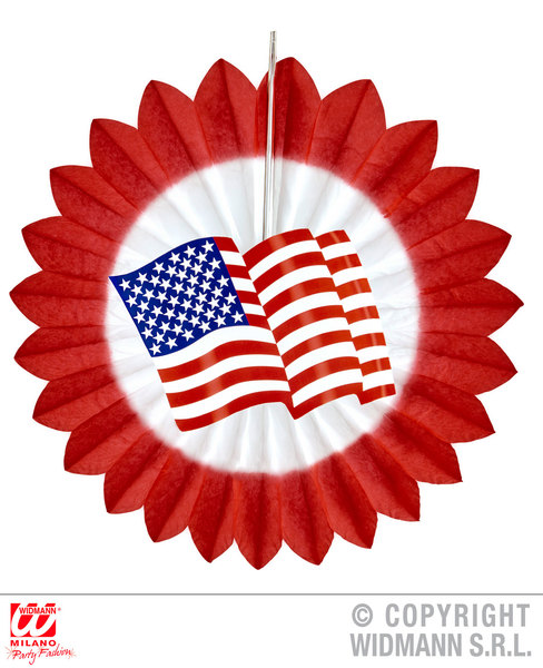 RED USA FLAG PAPER FAN 50cm Decoration for American United States Party