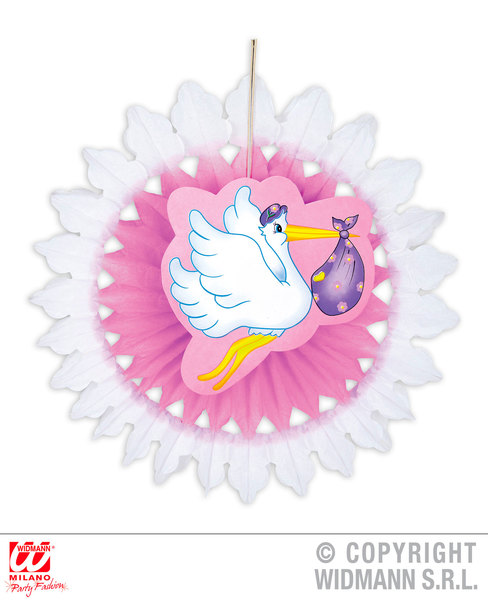 PINK Child Unisex STORK WITH BABY PAPER FAN 50cm Decoration for Party Unisex Kids Girls