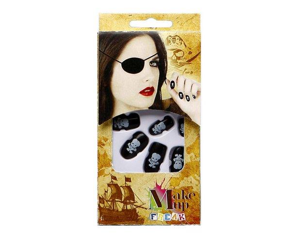 Nails 10 Black Skull design Halloween Cosmetics Makeup