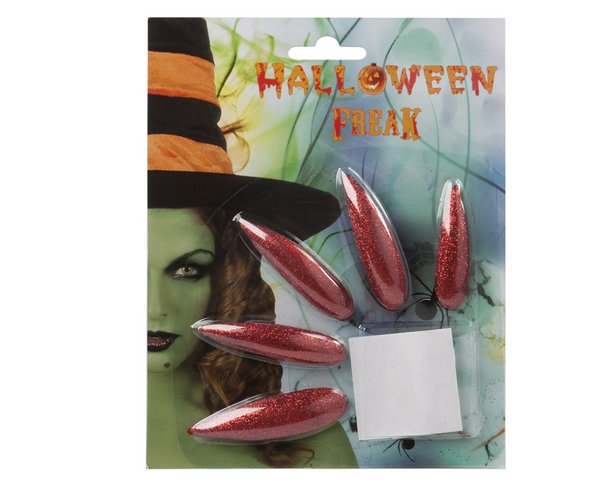 Nails 10 Witch Nails Red Metallic Halloween Face Body Paint Makeup