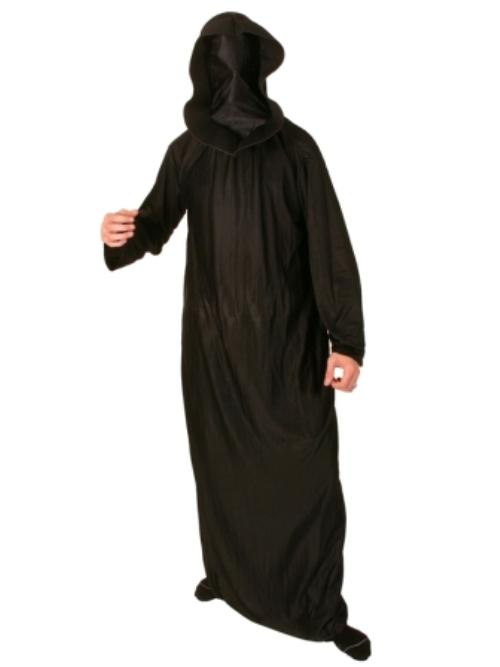 Robe & Hood Satin Black Face covered Halloween Accessory Cloak Cape Hood Villian