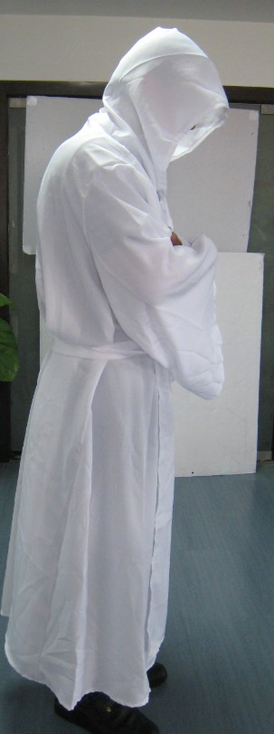 Robe & Hood Warrior White 100% Polyester Halloween Accessory Cloak Cape Hood Vil