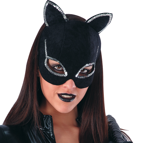 Mask Half Face Velvet Cat with Silver Face Body Paint Makeup