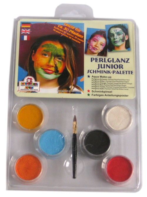 Boxed Set Pearlised Junior Palette Face Body Paint Makeup Fancy Dress