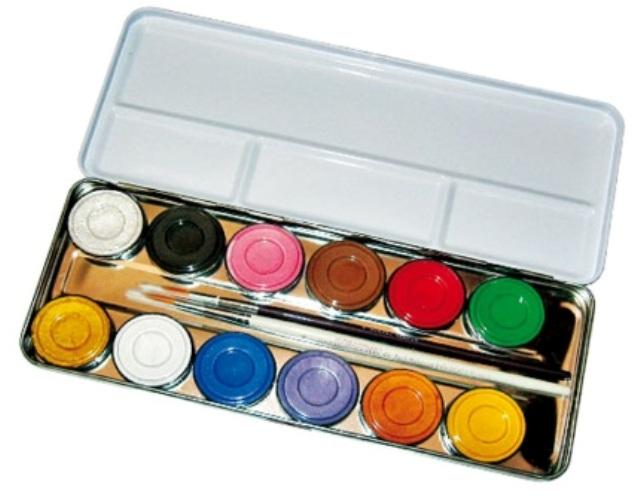 Metal Paint Box 12 Colours Empty Face Body Paint Makeup Fancy Dress