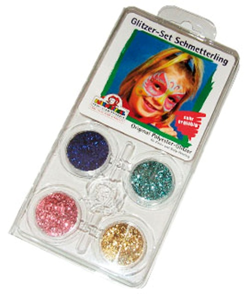 Glitter Motif Set Face Butterfly Face Body Paint Makeup Fancy Dress