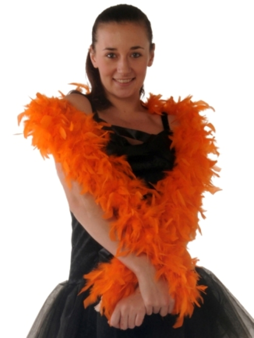 Boas 1.8m Orange Feather Garland Moulin Rouge 20s Fancy Dress Accessory
