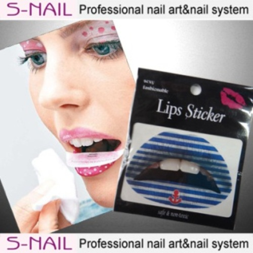 Lip Tattoo 2 in Packet Blue-White Lines Face Body Paint Makeup
