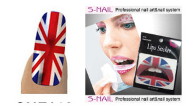 Lip Tattoo & 16 Nail Foils Union Jack Face Body Paint Makeup