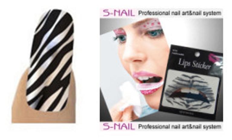 Lip Tattoo & 16 Nail Foils White/Bk Strp Face Body Paint Makeup